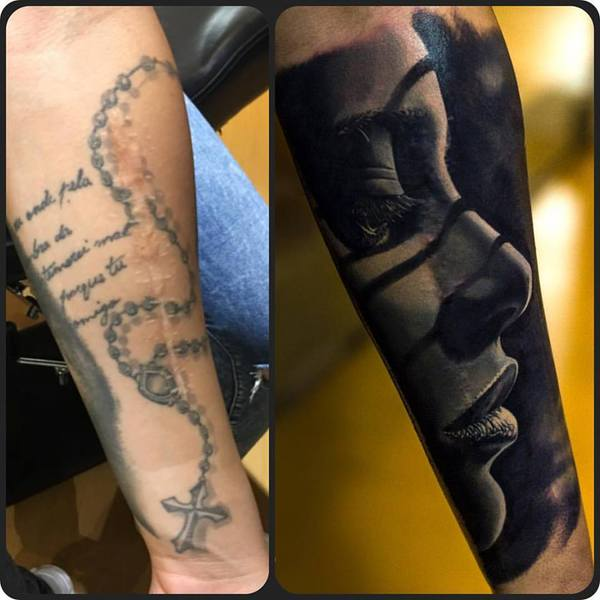 Cover-up Tattoo Stuttgart - gestochen im Heart of Gold Tattoostudio